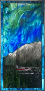"Gary Elshoff ""Lights Afloat"" 38"" x 19"" Stained Glass"