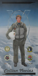 "Larry Manofsky ""Capt. Colleen Nevius - The first woman aviator to graduate from United States Naval Test Pilot School"" 48"" x 24"" Mixed"