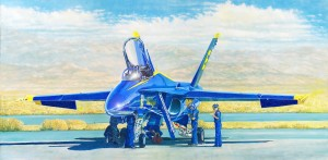 "Douglas Castleman ""Blue Angel Maintenance"" 12"" x 24"" Oil"