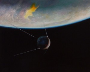 "John Clark ""Dawn of the Space Age"" 16"" x 20"" Oil"